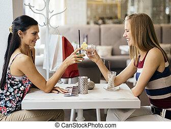 bonito, bebendo, mulheres, restaurante
