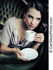 bonito, bebendo, senhora, tarde, café