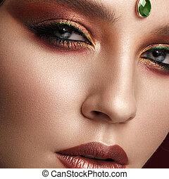 bonito, beleza, coloridos, face., makeup., criativo, menina