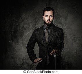 bonito, bem-vestido, homem vara