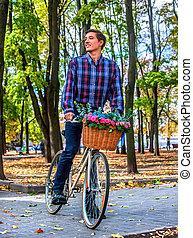 bonito, bicicleta, mulher, parque, jovem