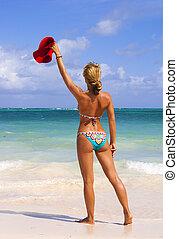 bonito, biquíni, mulher, praia