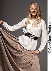 bonito, blusa, branca, mulher