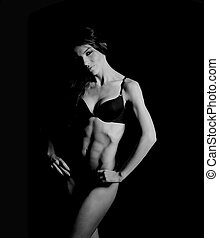 bonito,  bodybuilder, mulher
