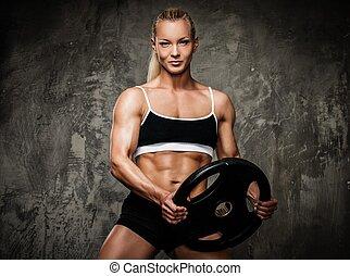 bonito, bodybuilder, mulher, pesos, muscular