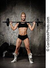 bonito,  bodybuilder, pesos,  Muscular, segurando