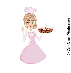 bonito, bolo, confectioner, cereja, serve, senhora, chocolate