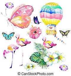 bonito, borboleta, balloon, folhas, tropicais, flamingos, palma