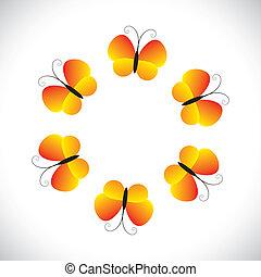 bonito, borboleta, conceito, organizado, icons(symbols)., graphic-, amarela, borboletas, vetorial, ilustração, bonito, círculo alaranjado, mostra