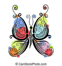bonito, borboleta, padrões