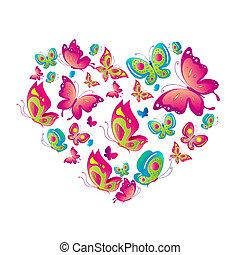 bonito, borboletas, isolado, ligado, um, branca