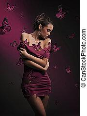 bonito, borboletas, mulher, vestido, jovem
