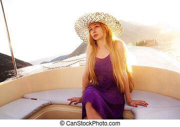 bonito, bote, mulher, luxo, loura