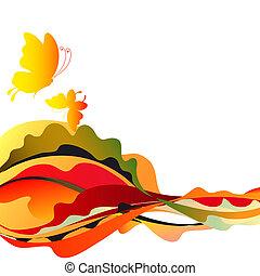 bonito, branca, borboletas, amarela, vermelho