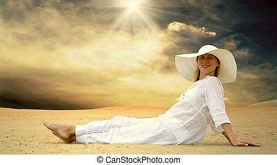 bonito, branca, ensolarado, jovem, relaxamento, deserto, mulheres