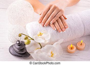 bonito, branca, manicure, francês, orquídea