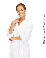 bonito, branca, mulher, bathrobe