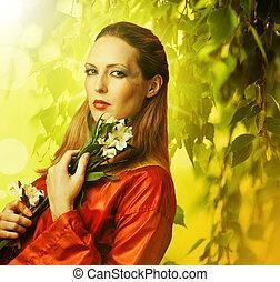 bonito, branca, mulher, flores