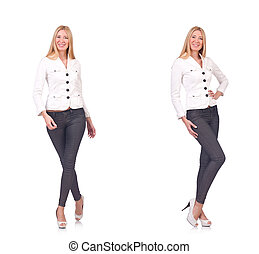 bonito, branca, mulher, isolado, calças