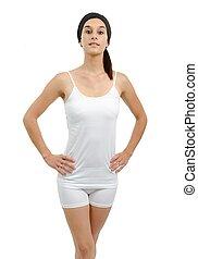 bonito, branca, mulher, jovem, roupa interior