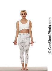bonito, branca, mulher, jovem, sportswear