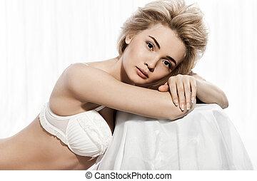 bonito, branca, mulher, langerie, na moda