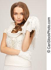 bonito, branca, mulher, luvas