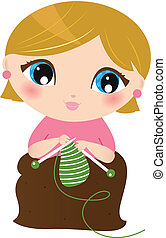 bonito, branca, mulher, tricotando, isolado