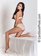 bonito, branca, mulher, underwear.