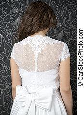 bonito, branca, mulher, vestido, casório