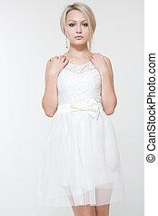 bonito, branca, mulher, vestido