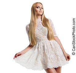 bonito, branca, mulher, vestido, jovem