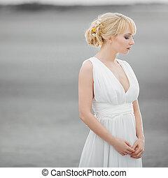 bonito, branca, mulher, vestido, loura