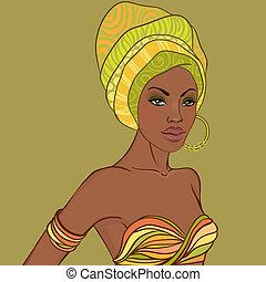 bonito, brinco, retrato mulher, africano