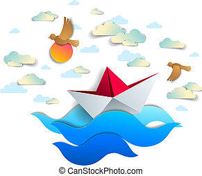 bonito, brinquedo, nuvens, illustration., panorâmico, dobrado, flutuante, oceânicos, papel, vetorial, mar, seascape, origami, navio, natação, ondas, pássaros, bote, céu