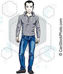 bonito, brunet, homem jovem, poses, ligado, modernos, fundo, com, hexagons., vetorial, ilustração, de, male., estilo vida, tema, clipart.