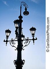 bonito, budapest, antigas, lâmpada, rua, amanhecer