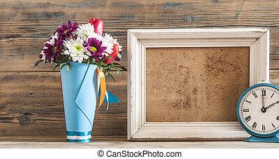 bonito, buquê flor, vindima, quadro, experiência., madeira, foto
