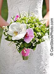 bonito, buquet, casório, mãos, noiva