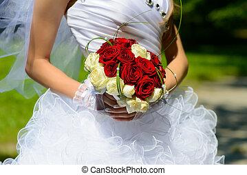 bonito, buquet, casório, noiva, mãos