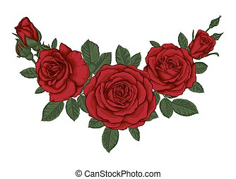 bonito, buquet, com, rosas vermelhas, e, leaves., floral,...