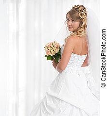 bonito, buquet, flores, noiva