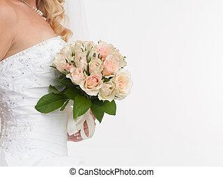 bonito, buquet, mãos, noiva, closeup, segurando, casório