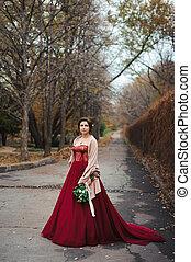 bonito, buquet, noiva, retrato, vestido, vermelho