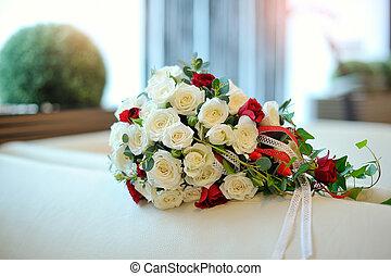 bonito, buquet, nupcial, branca, rosas