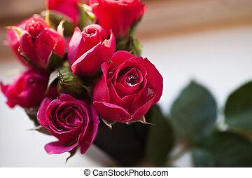 bonito, buquet, rosas cor-de-rosa
