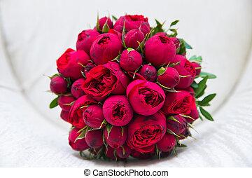 bonito, buquet, roses., vermelho, casório