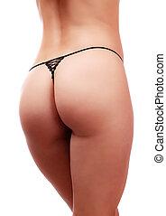 bonito, burro, mulher, femininas, isolado, panties., bundas, closeup, fundo, pretas, lingerie., branca
