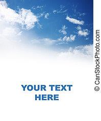 bonito, céu azul, sobre, fundo branco
