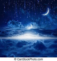 bonito, céu, noturna